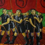 Boys with flags 120x140