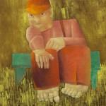 Man op groen bankje, 2010, olie op linnen, 40 bij 40 cm., nr_ 100618, JPEG