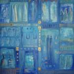 geschiedenis in blauw acryl op linnen 110x130 cm
