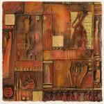 klein rood liedje - aquarel op papier  36 x 36 cm -  foto Peter Cox
